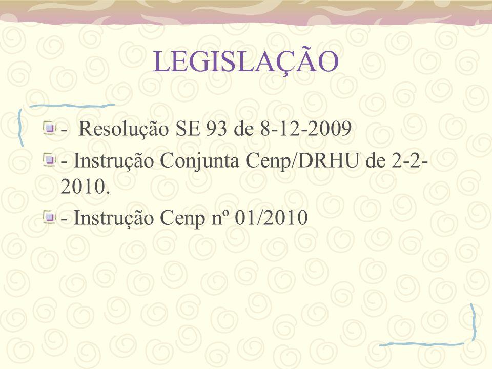 LEGISLAÇÃO - Resolução SE 93 de 8-12-2009