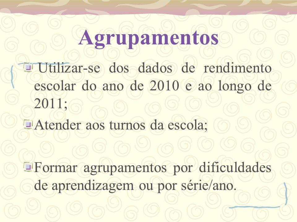Agrupamentos Utilizar-se dos dados de rendimento escolar do ano de 2010 e ao longo de 2011; Atender aos turnos da escola;