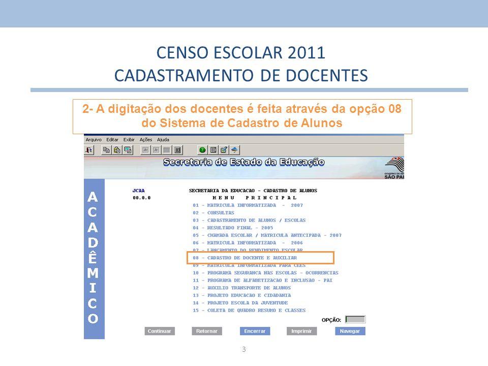 CADASTRAMENTO DE DOCENTES