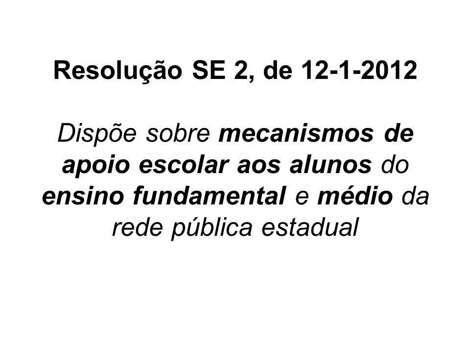 Resolução SE 2, de 12-1-2012 Dispõe sobre mecanismos de apoio escolar aos alunos do ensino fundamental e médio da rede pública estadual