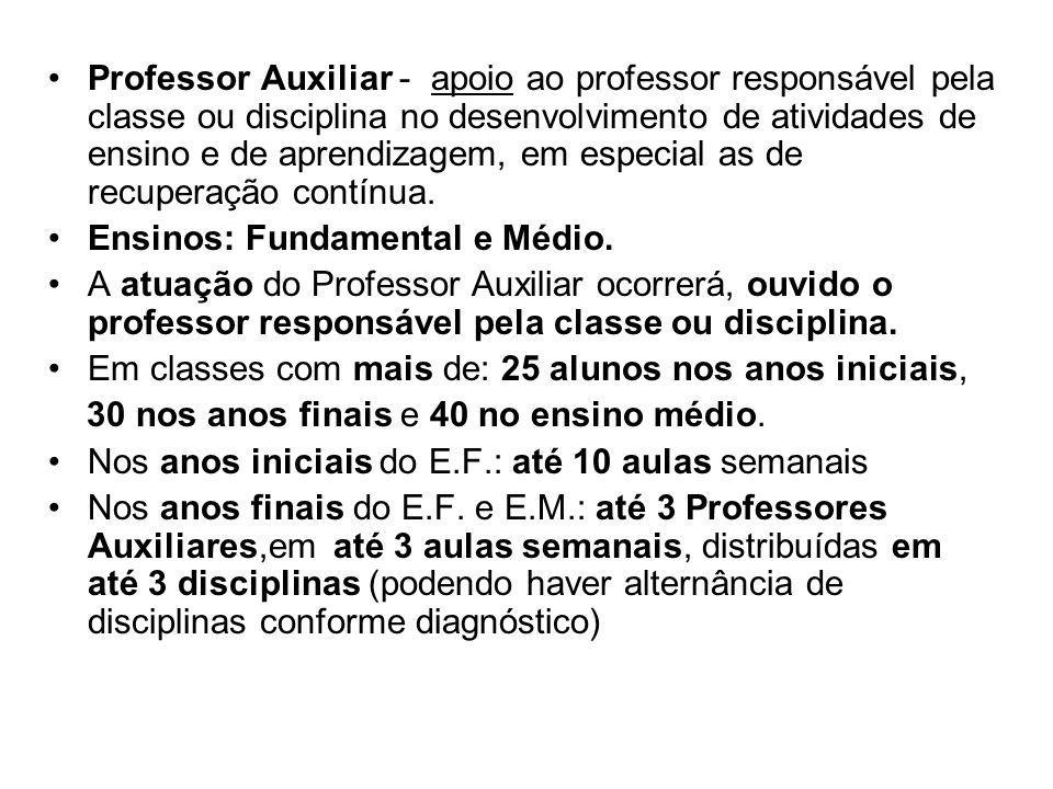 Professor Auxiliar - apoio ao professor responsável pela classe ou disciplina no desenvolvimento de atividades de ensino e de aprendizagem, em especial as de recuperação contínua.