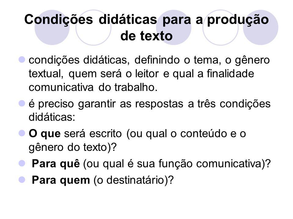 Condições didáticas para a produção de texto
