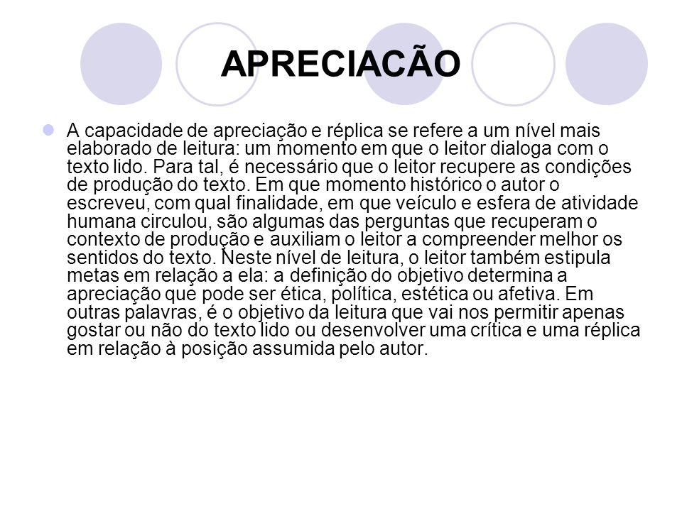APRECIACÃO