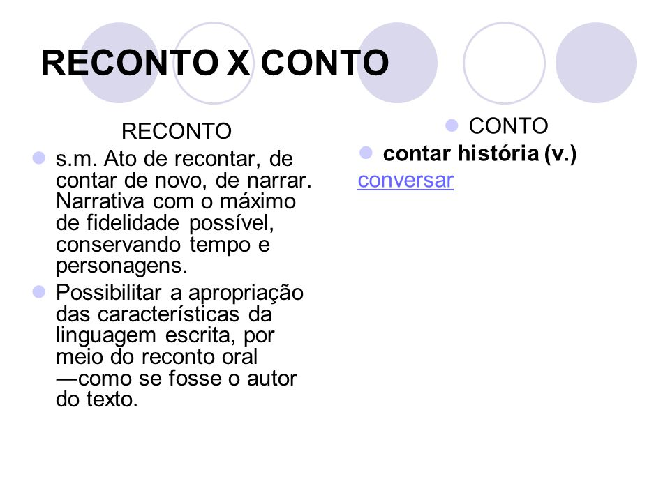 RECONTO X CONTO CONTO RECONTO contar história (v.)