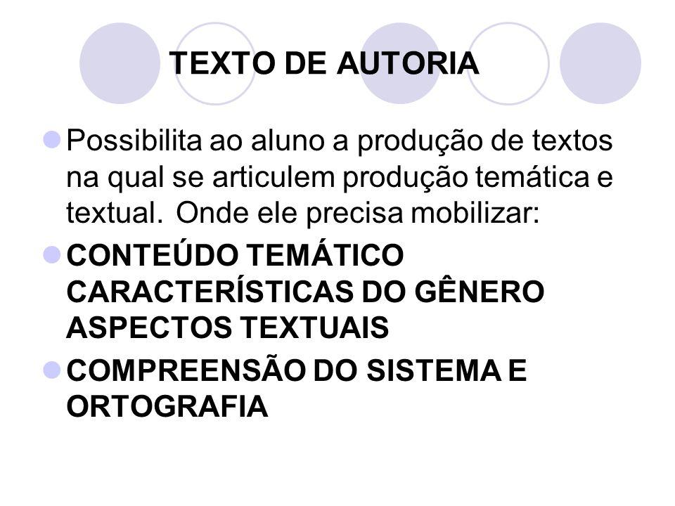 TEXTO DE AUTORIA Possibilita ao aluno a produção de textos na qual se articulem produção temática e textual. Onde ele precisa mobilizar: