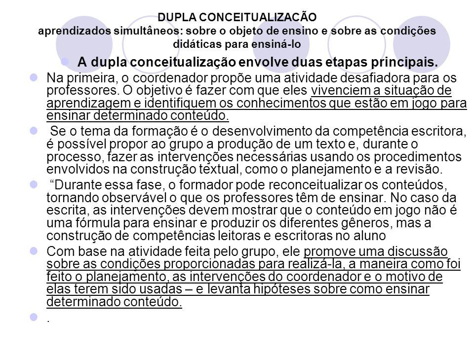A dupla conceitualização envolve duas etapas principais.
