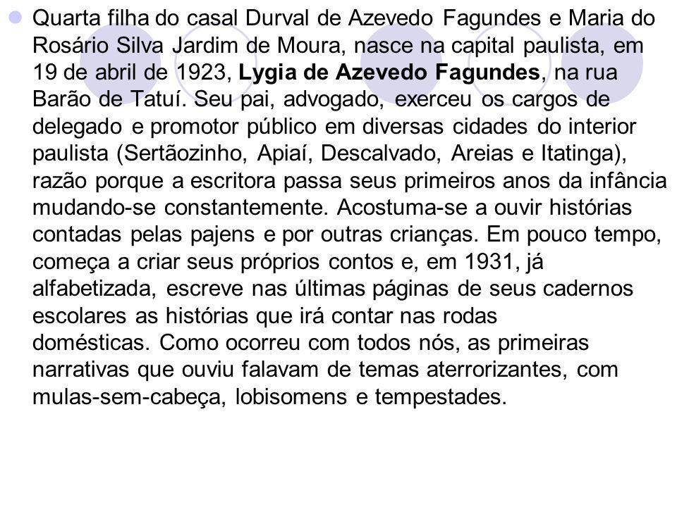Quarta filha do casal Durval de Azevedo Fagundes e Maria do Rosário Silva Jardim de Moura, nasce na capital paulista, em 19 de abril de 1923, Lygia de Azevedo Fagundes, na rua Barão de Tatuí.