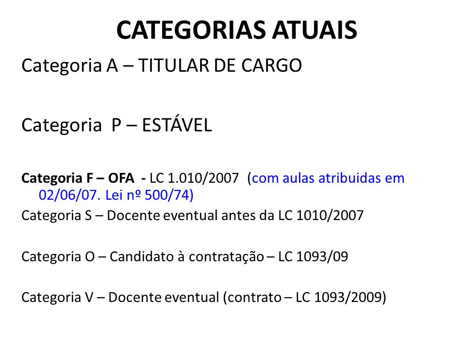 CATEGORIAS ATUAIS Categoria A – TITULAR DE CARGO Categoria P – ESTÁVEL