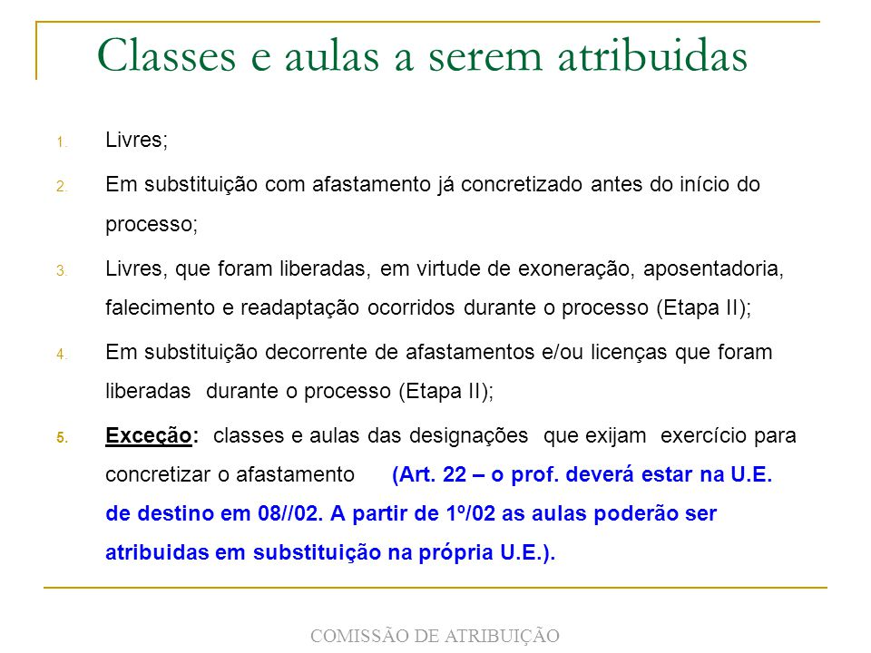 Classes e aulas a serem atribuidas