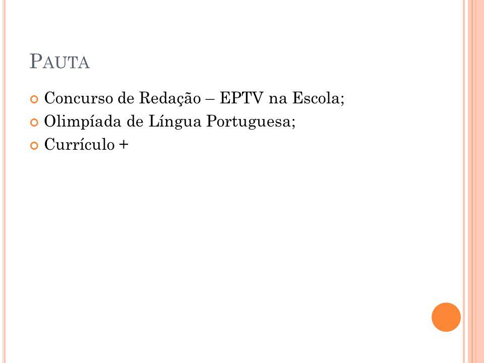 Pauta Concurso de Redação – EPTV na Escola;