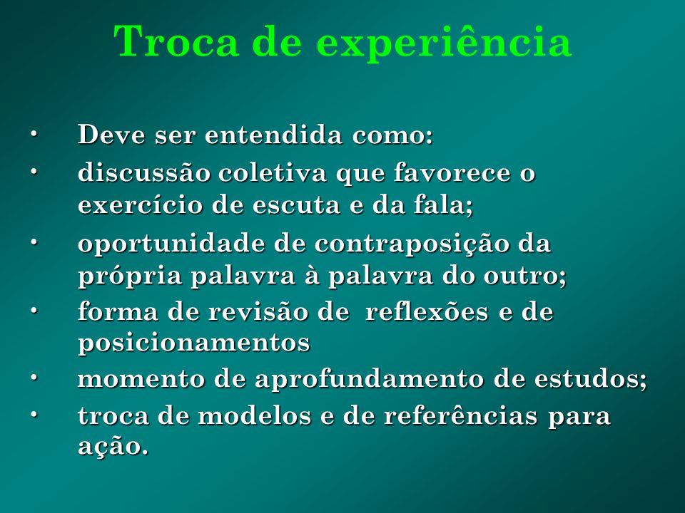 Troca de experiência Deve ser entendida como: