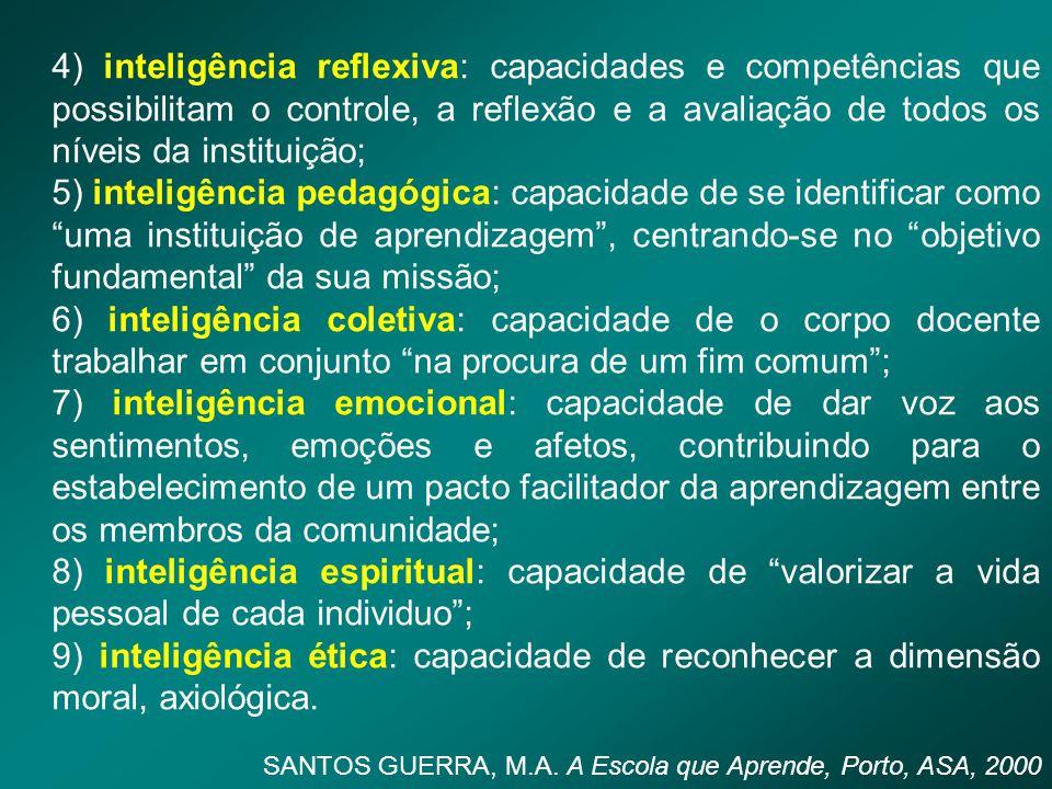 4) inteligência reflexiva: capacidades e competências que possibilitam o controle, a reflexão e a avaliação de todos os níveis da instituição;