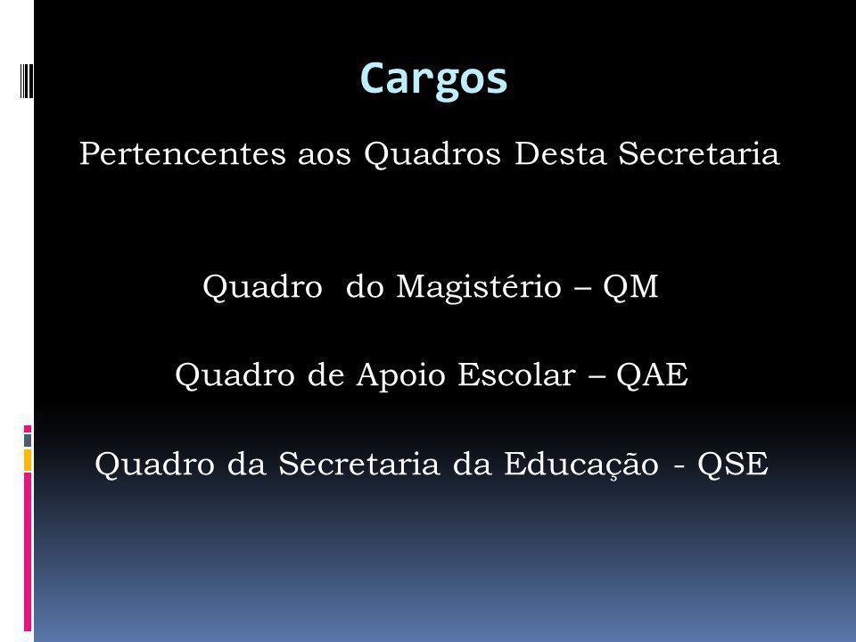 Cargos Pertencentes aos Quadros Desta Secretaria Quadro do Magistério – QM Quadro de Apoio Escolar – QAE Quadro da Secretaria da Educação - QSE