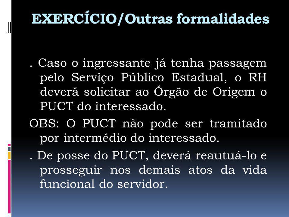 EXERCÍCIO/Outras formalidades