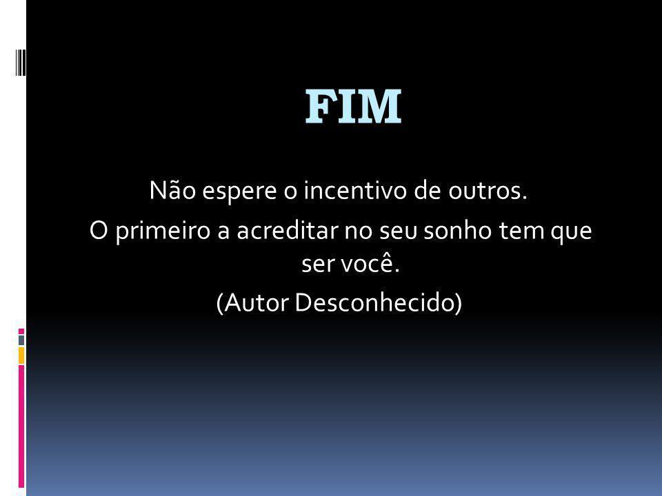 FIM Não espere o incentivo de outros. O primeiro a acreditar no seu sonho tem que ser você.
