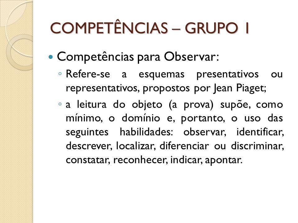 COMPETÊNCIAS – GRUPO 1 Competências para Observar:
