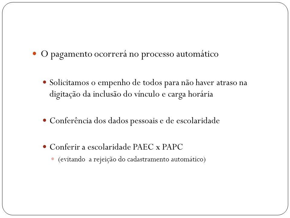 O pagamento ocorrerá no processo automático
