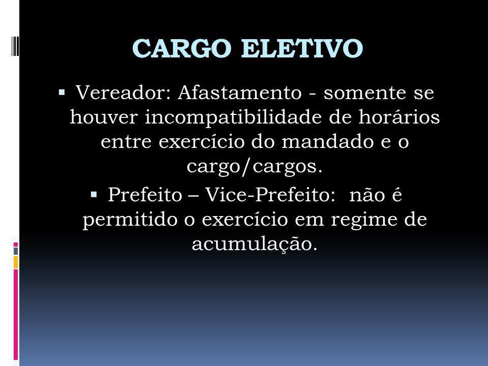 CARGO ELETIVO Vereador: Afastamento - somente se houver incompatibilidade de horários entre exercício do mandado e o cargo/cargos.