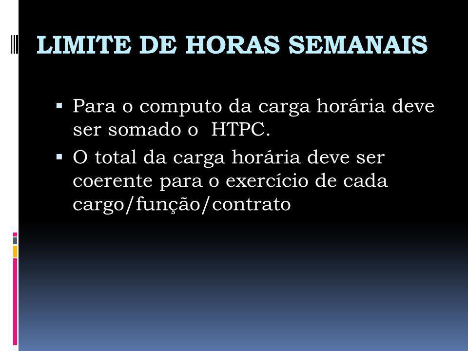 LIMITE DE HORAS SEMANAIS
