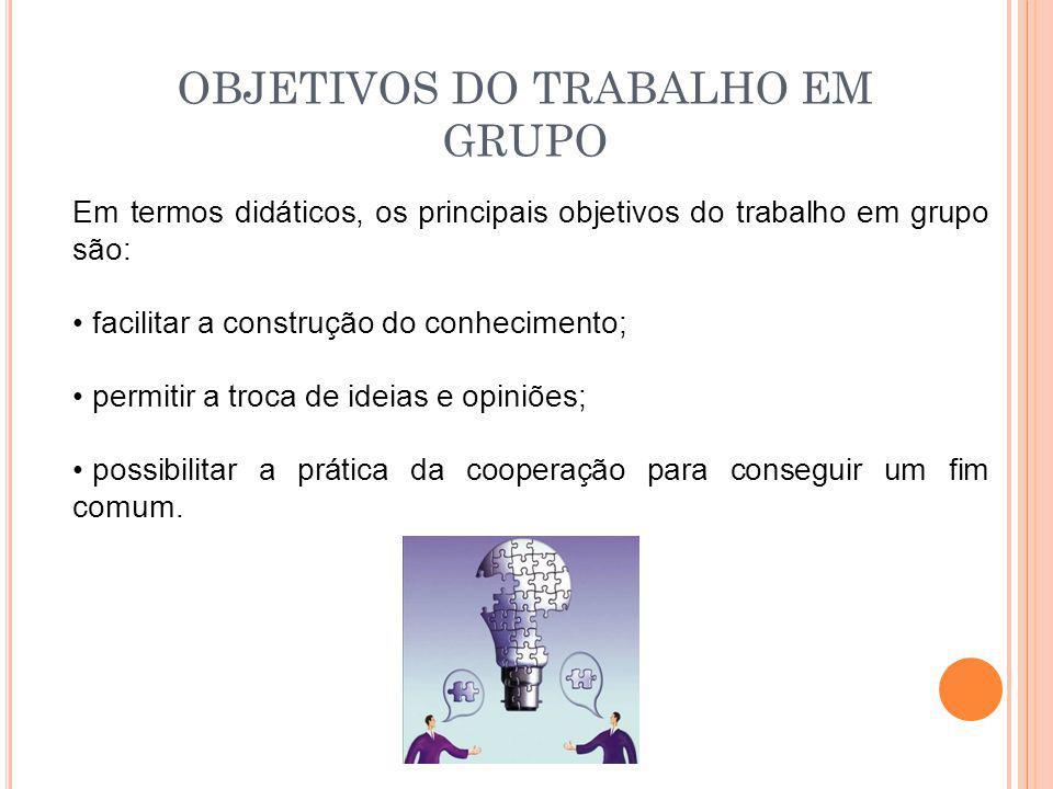 OBJETIVOS DO TRABALHO EM GRUPO