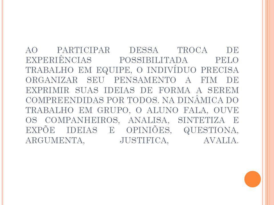 AO PARTICIPAR DESSA TROCA DE EXPERIÊNCIAS POSSIBILITADA PELO TRABALHO EM EQUIPE, O INDIVÍDUO PRECISA ORGANIZAR SEU PENSAMENTO A FIM DE EXPRIMIR SUAS IDEIAS DE FORMA A SEREM COMPREENDIDAS POR TODOS.