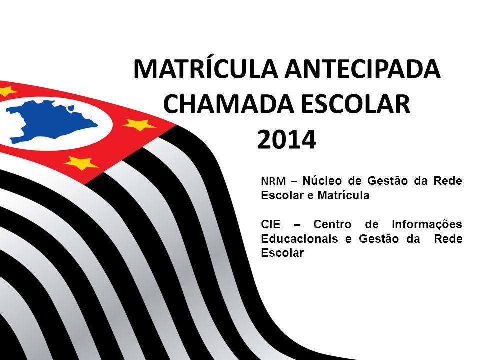 MATRÍCULA ANTECIPADA CHAMADA ESCOLAR 2014