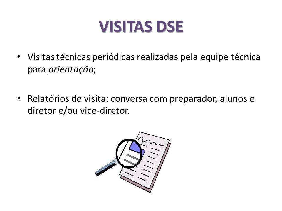 VISITAS DSE Visitas técnicas periódicas realizadas pela equipe técnica para orientação;