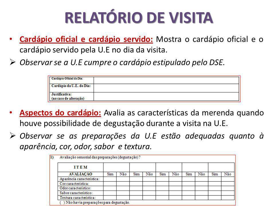 RELATÓRIO DE VISITA Cardápio oficial e cardápio servido: Mostra o cardápio oficial e o cardápio servido pela U.E no dia da visita.
