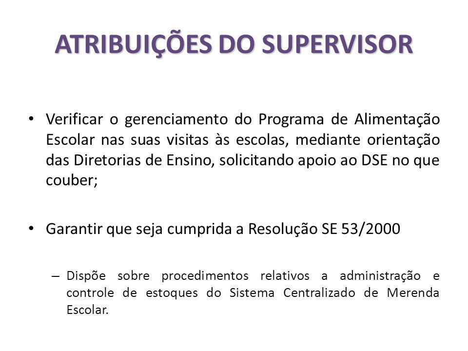 ATRIBUIÇÕES DO SUPERVISOR