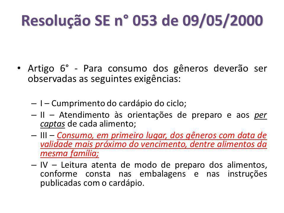 Resolução SE n° 053 de 09/05/2000 Artigo 6° - Para consumo dos gêneros deverão ser observadas as seguintes exigências: