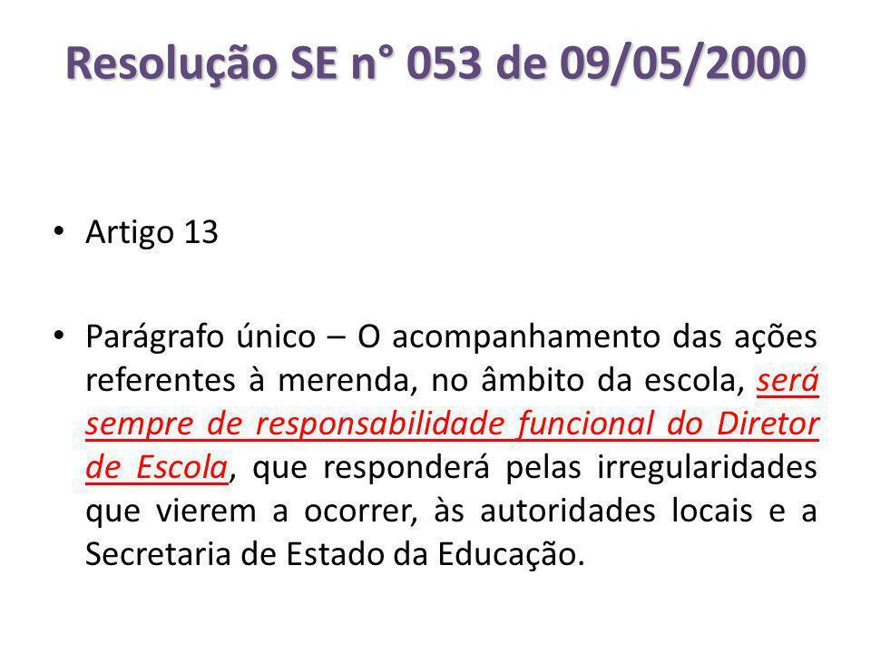 Resolução SE n° 053 de 09/05/2000 Artigo 13
