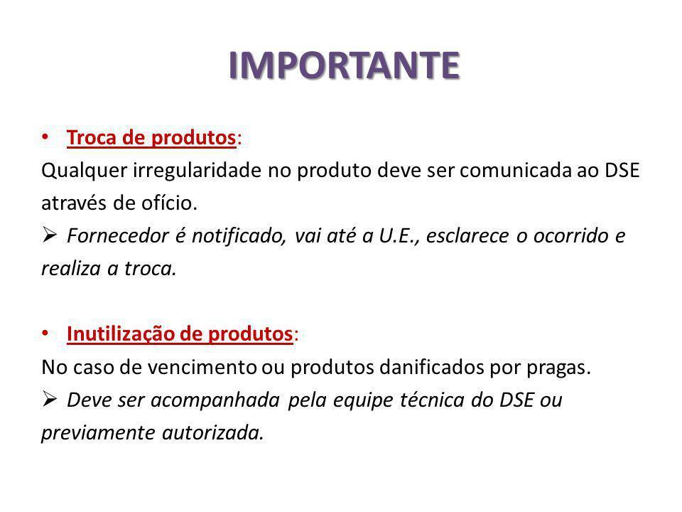 IMPORTANTE Troca de produtos: