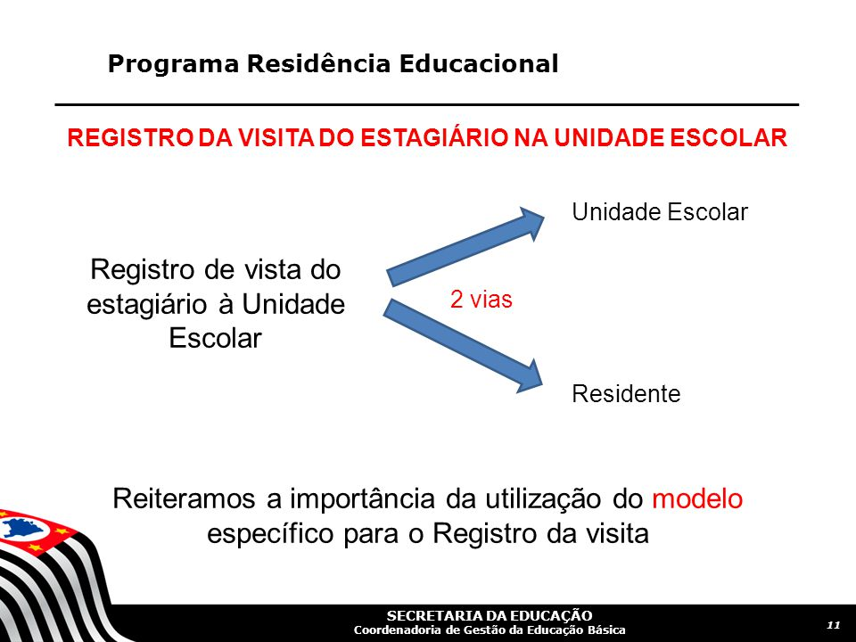 REGISTRO DA VISITA DO ESTAGIÁRIO NA UNIDADE ESCOLAR