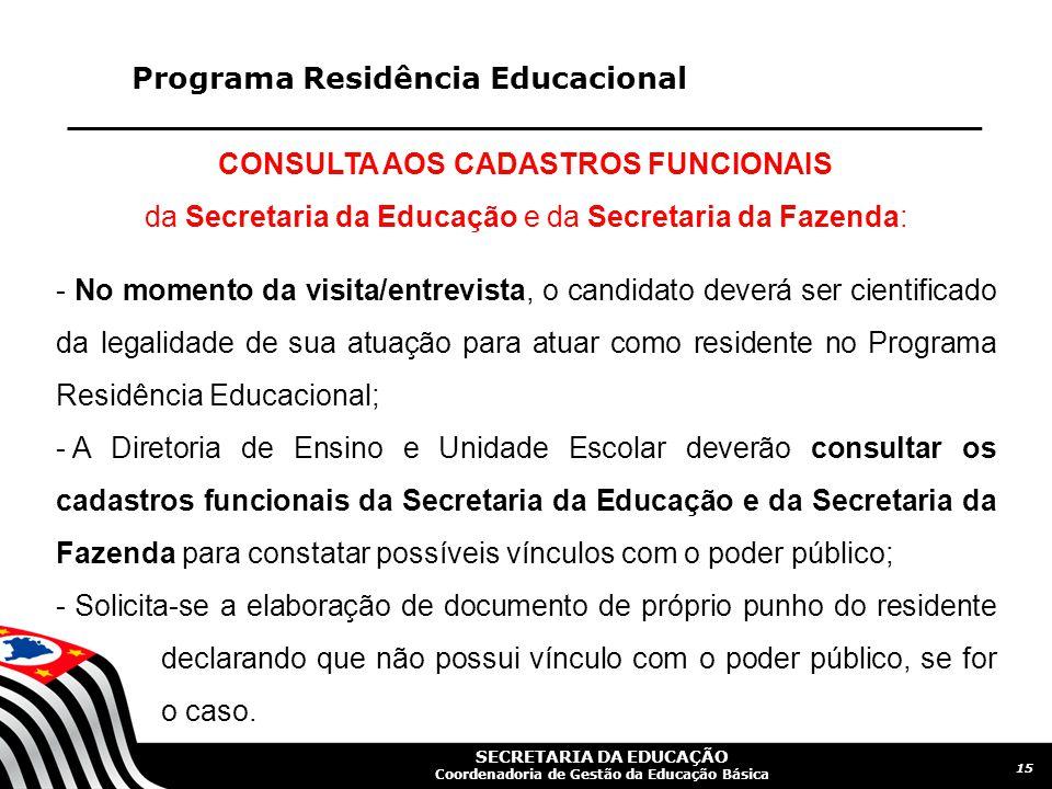 CONSULTA AOS CADASTROS FUNCIONAIS