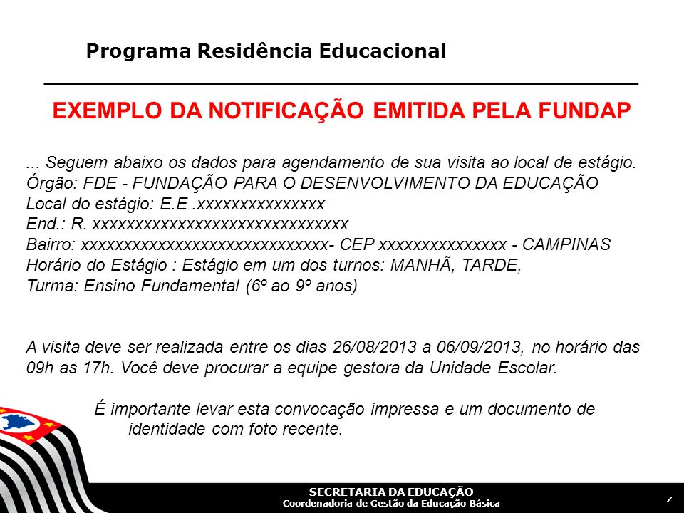 EXEMPLO DA NOTIFICAÇÃO EMITIDA PELA FUNDAP
