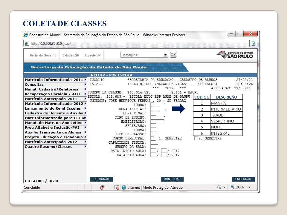 COLETA DE CLASSES CODIGO DESCRIÇÃO 1 MANHÃ 2 INTERMEDIÁRIO 3 TARDE 4