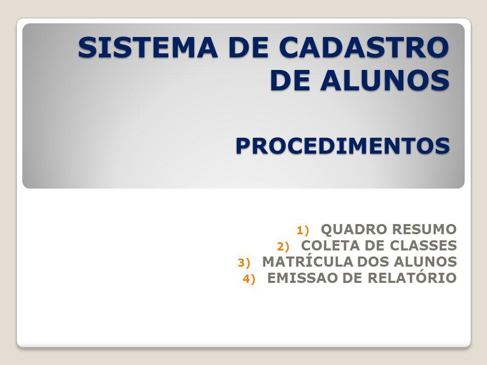 SISTEMA DE CADASTRO DE ALUNOS PROCEDIMENTOS