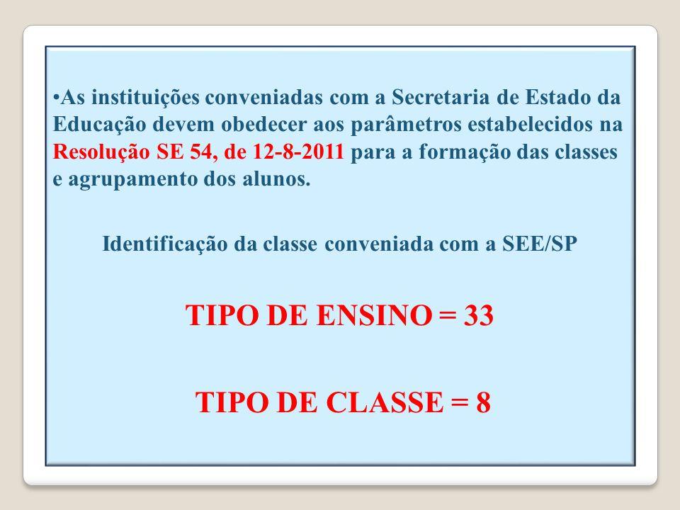 Identificação da classe conveniada com a SEE/SP