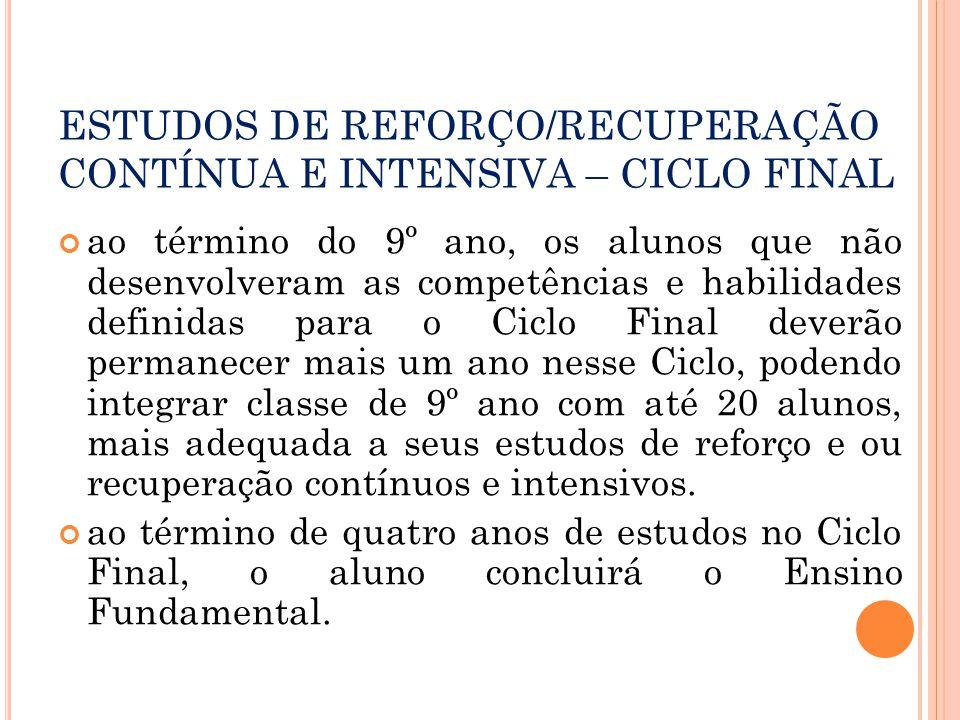 ESTUDOS DE REFORÇO/RECUPERAÇÃO CONTÍNUA E INTENSIVA – CICLO FINAL