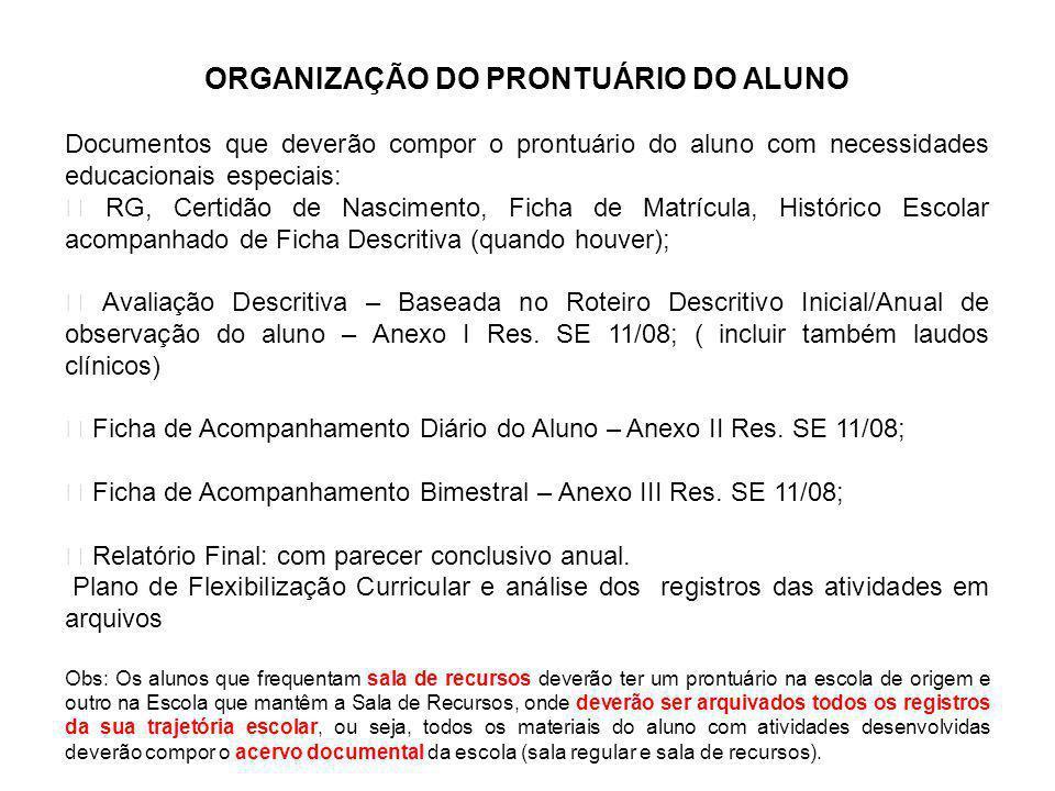 ORGANIZAÇÃO DO PRONTUÁRIO DO ALUNO