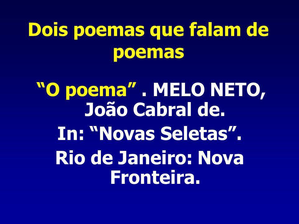 Dois poemas que falam de poemas