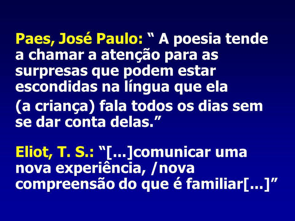 Paes, José Paulo: A poesia tende a chamar a atenção para as surpresas que podem estar escondidas na língua que ela