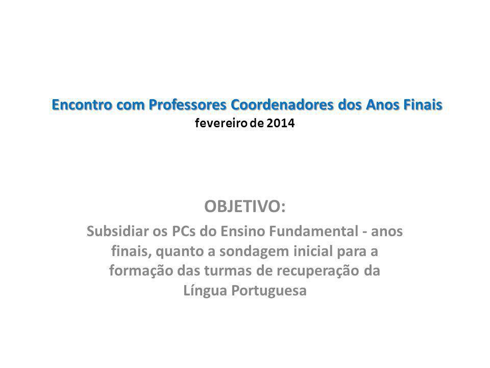 Encontro com Professores Coordenadores dos Anos Finais fevereiro de 2014