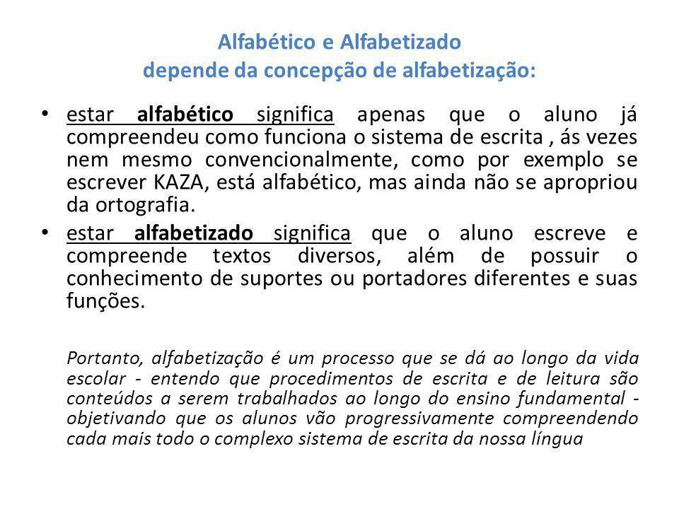 Alfabético e Alfabetizado depende da concepção de alfabetização: