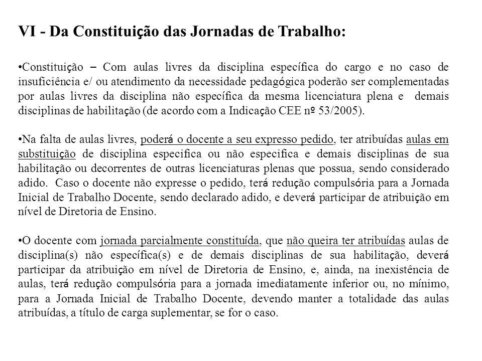 VI - Da Constituição das Jornadas de Trabalho: