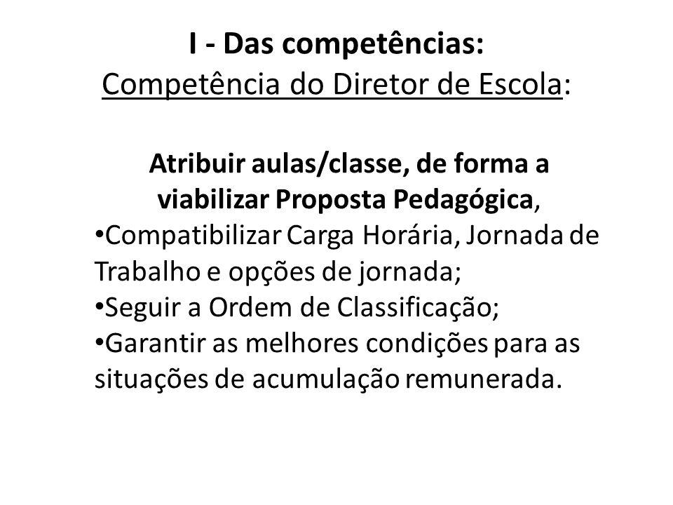 I - Das competências: Competência do Diretor de Escola: