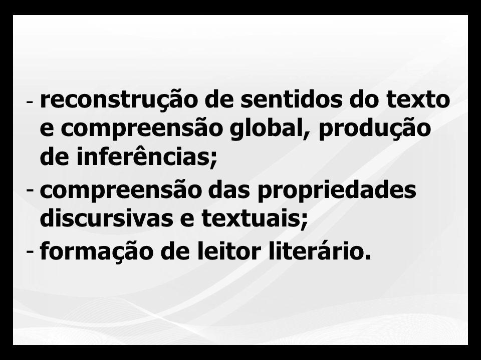 reconstrução de sentidos do texto e compreensão global, produção de inferências;