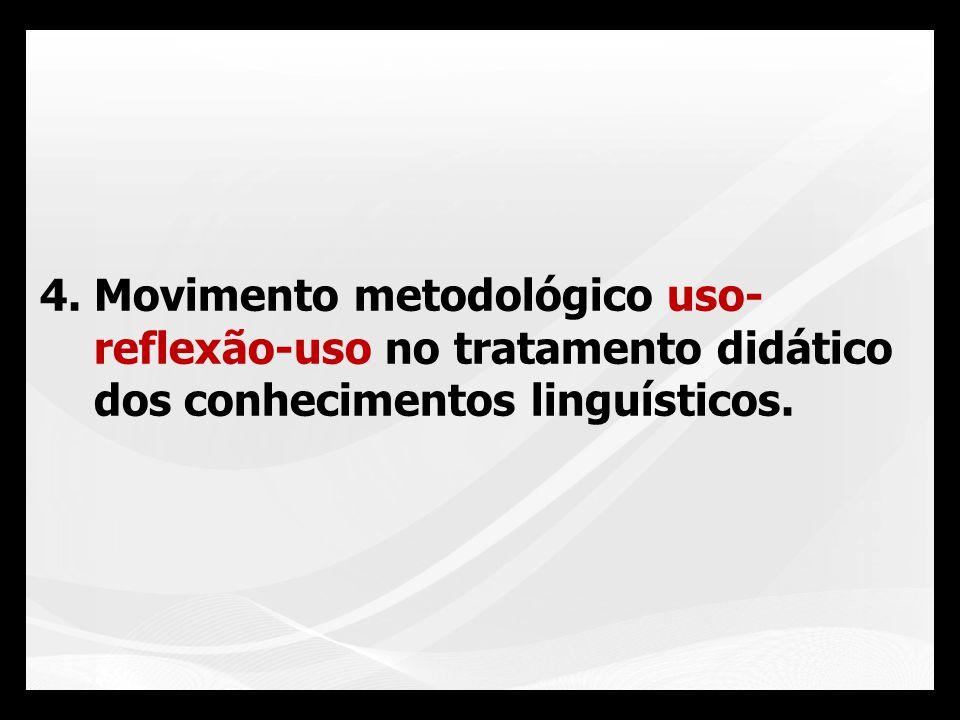 Movimento metodológico uso- reflexão-uso no tratamento didático dos conhecimentos linguísticos.