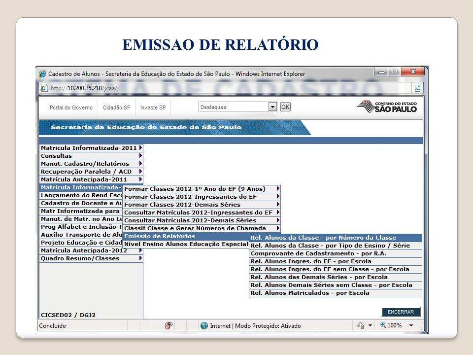EMISSAO DE RELATÓRIO