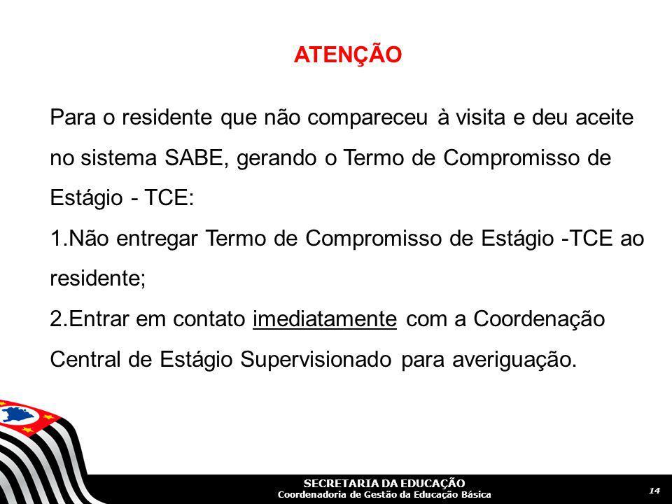 ATENÇÃO Para o residente que não compareceu à visita e deu aceite no sistema SABE, gerando o Termo de Compromisso de Estágio - TCE: